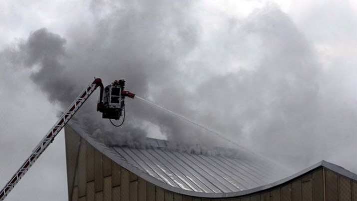 Berlin Philharmonic Hall on fire