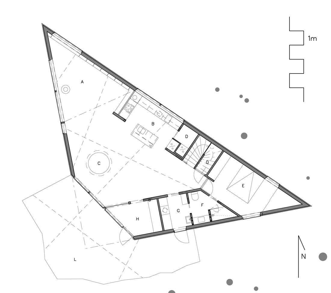 Triangle house jva archdaily for Triangular house floor plans