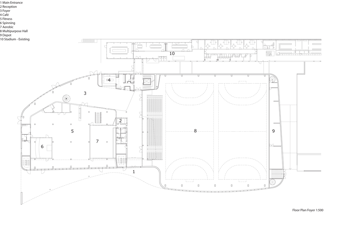Foyer City Floor Plan : Birkerød sports and leisure centre shl architects