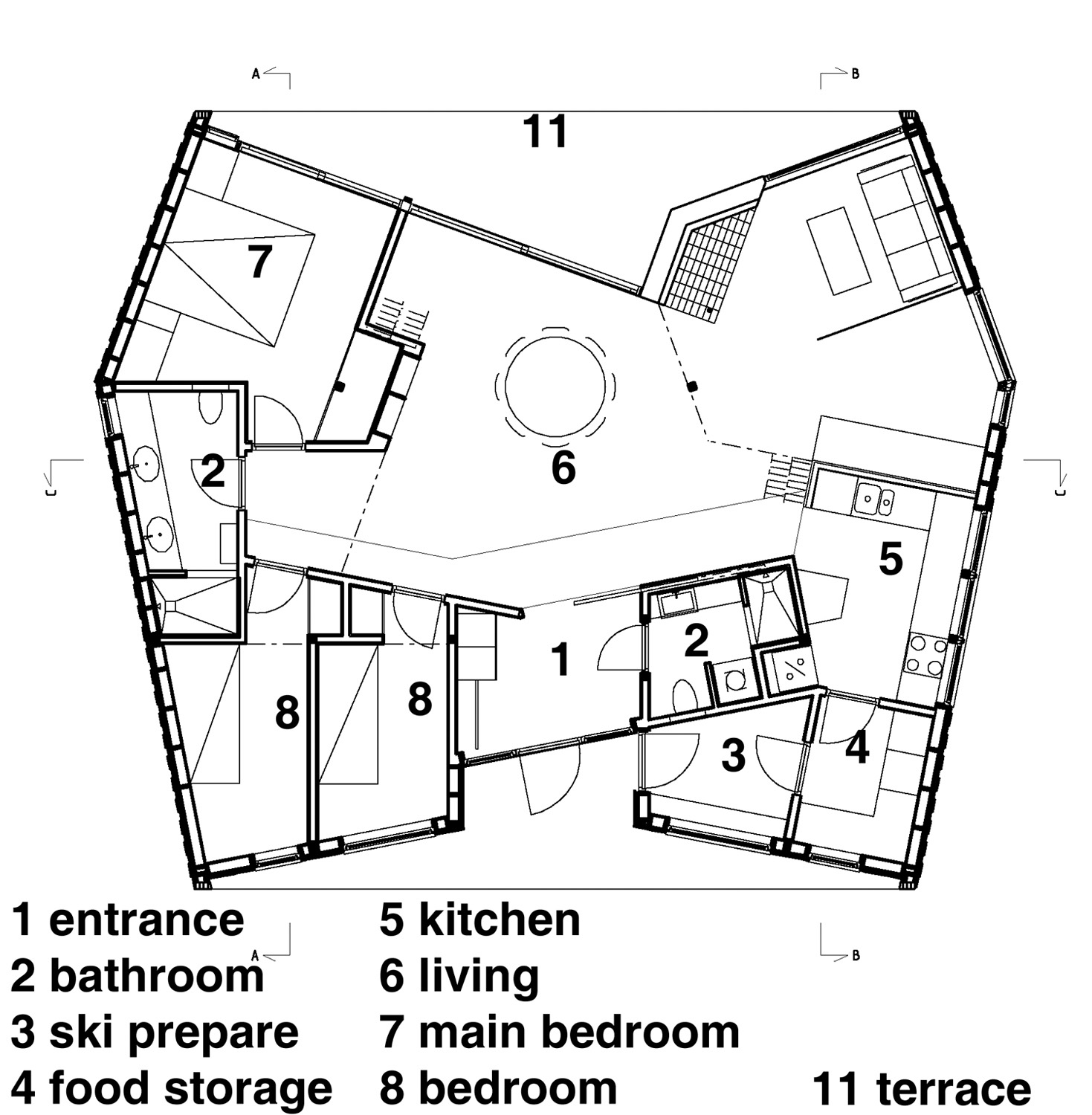 Architecture photography 01 plan1 1 200legend 26510 for Arched cabin floor plans
