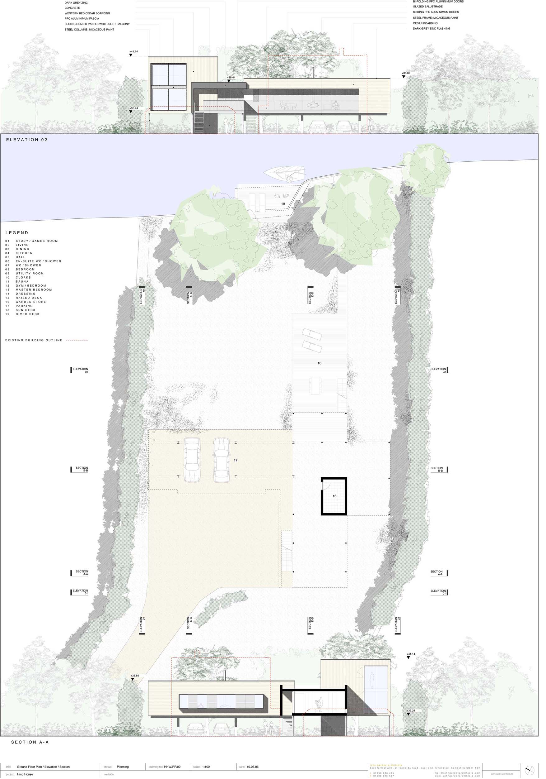 176663138_grond-floor-plan-elevation-section ground floor plan + elevation + section