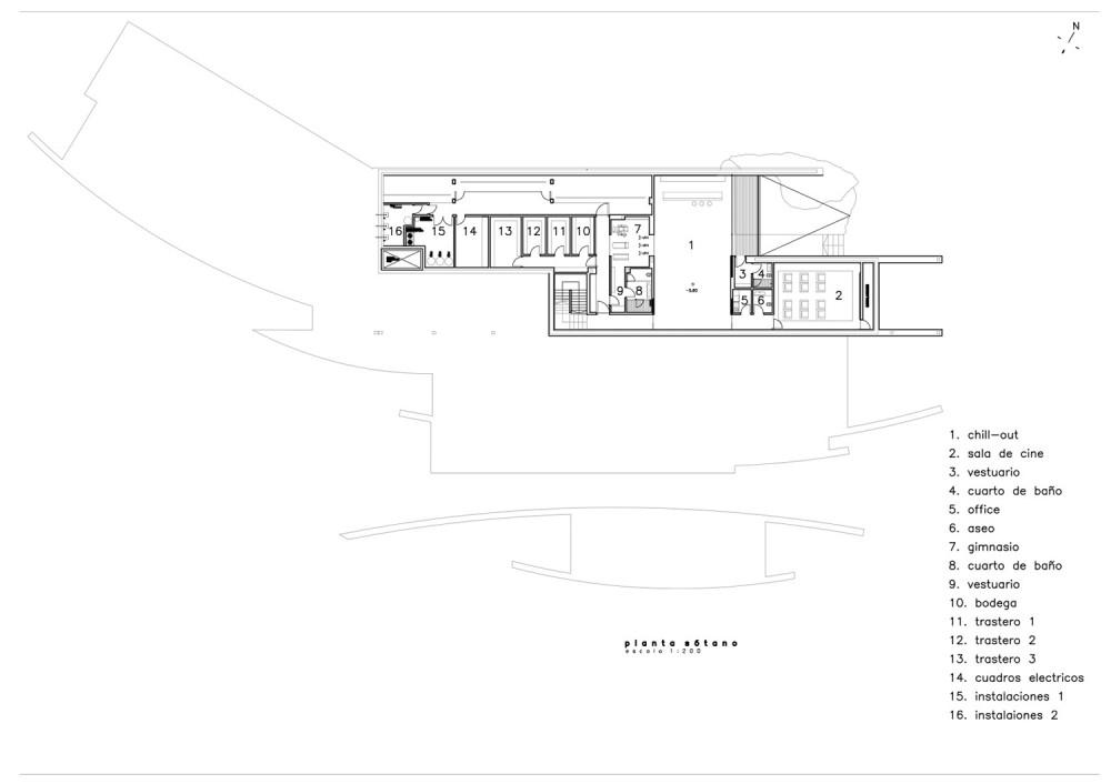 House in Somosaguas - A-cero basement floor plan