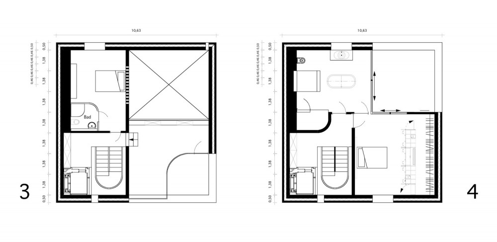 House - Topoi Engelsbrand - Office for Architecture Stocker third & fourth floor plan
