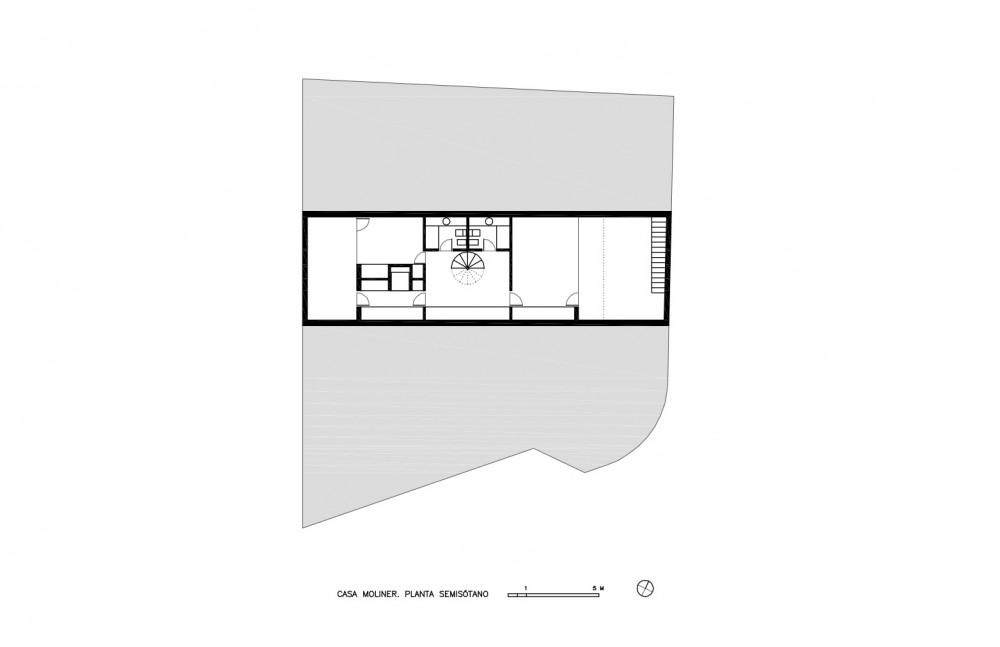 Moliner House - Alberto Campo Baeza basement floor plan