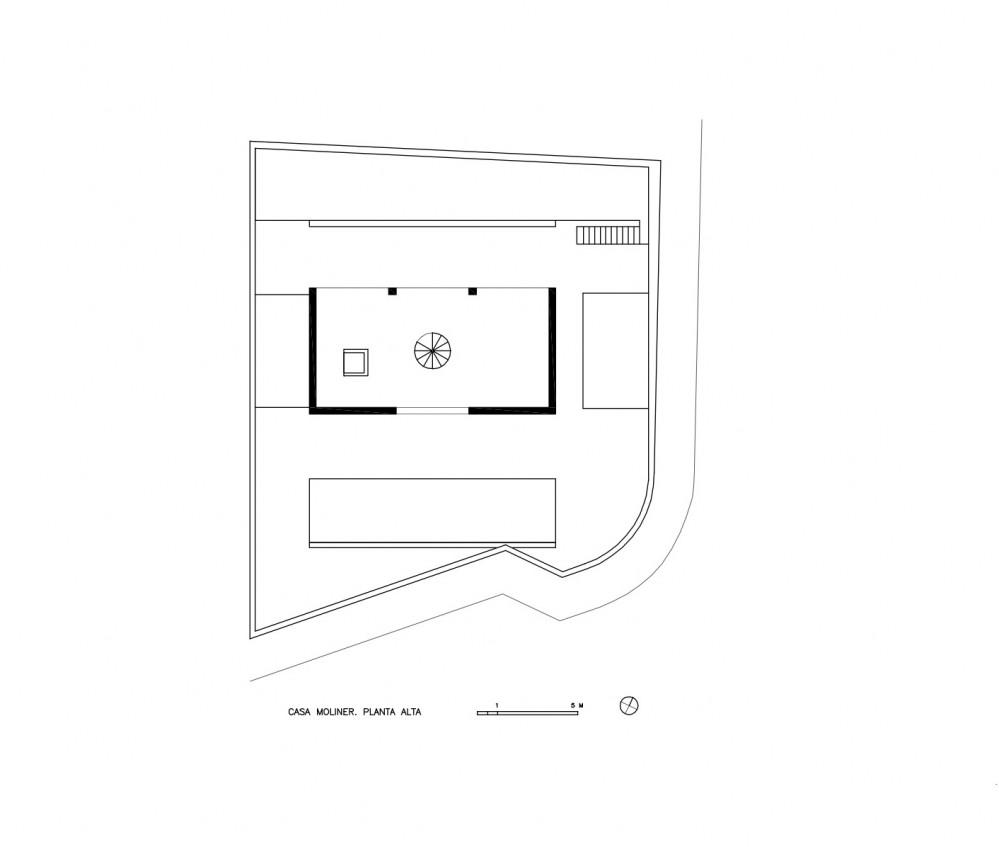 Moliner House - Alberto Campo Baeza upper floor plan