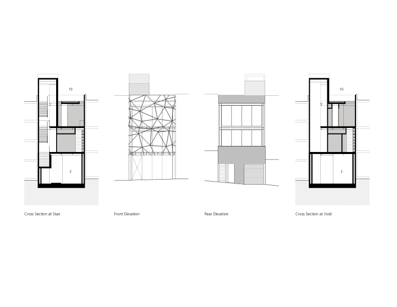 Gallery House - Ogrydziak Prillinger Architects elevations + section
