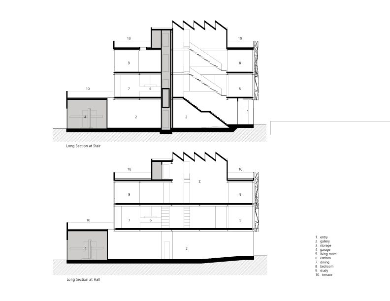 Gallery House - Ogrydziak Prillinger Architects sections
