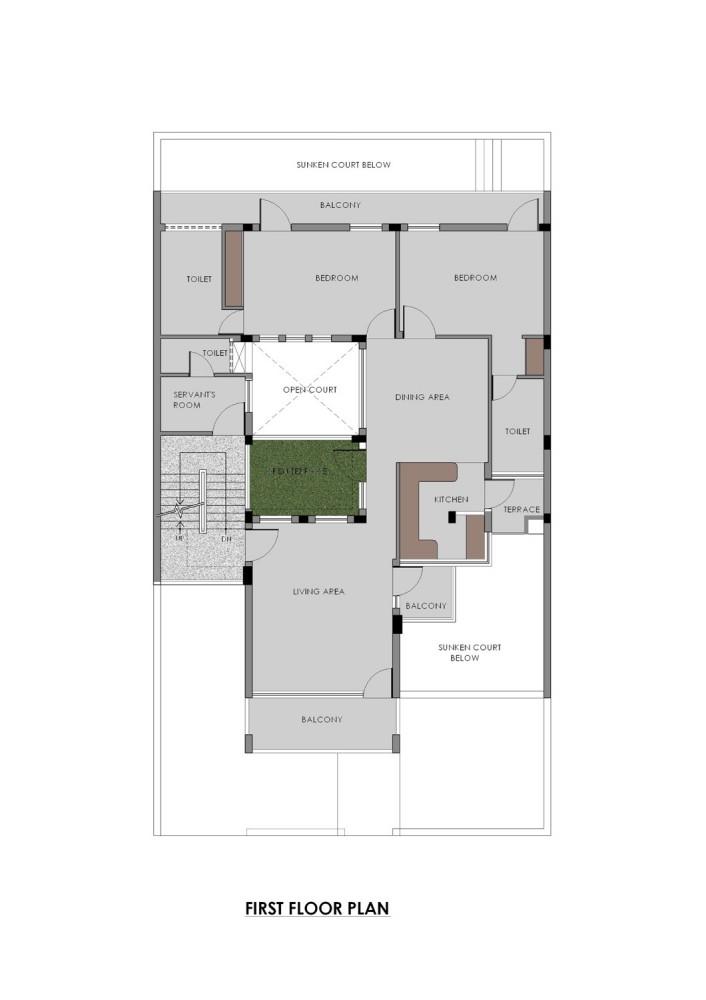 Gairola House - Anagram Architects first floor plan