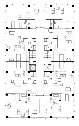 Lake Shore Drive Apartments - Rohe - Typical floor plan