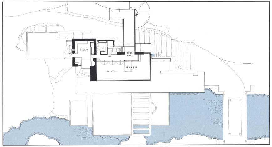 پلان خانه آبشار از فرانک لوید رایت
