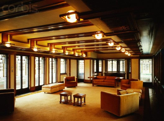 Robie house dining room with prairie art glass lighting fixtures prairie style pinterest Frank lloyd wright the rooms interiors and decorative arts