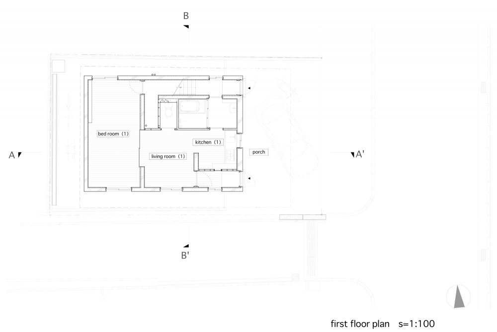 Between - Katsuhiro Miyamoto & Associates first floor plan