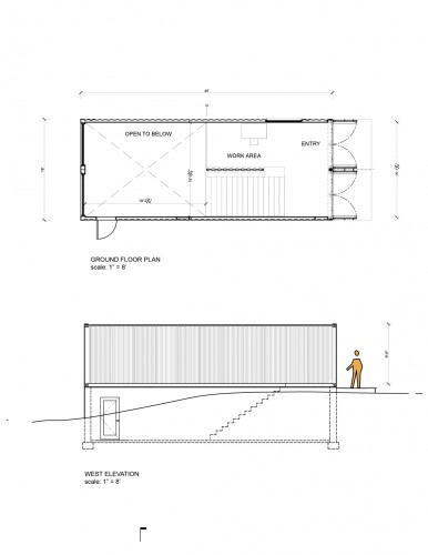 Ground Floor Side Elevation : Container studio maziar behrooz architecture archdaily