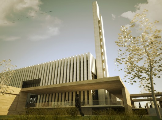 Green mosque onat oktem ziya imren zeynep oktem uri for Mosque exterior design
