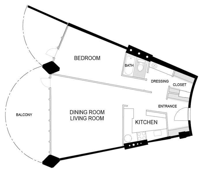 Architecture Photography Marina City Floorplan1br 87721