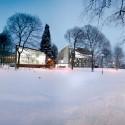 Mesterfjellet School exterior night view : © Cebra / Various Architects / Østengen & Bergo