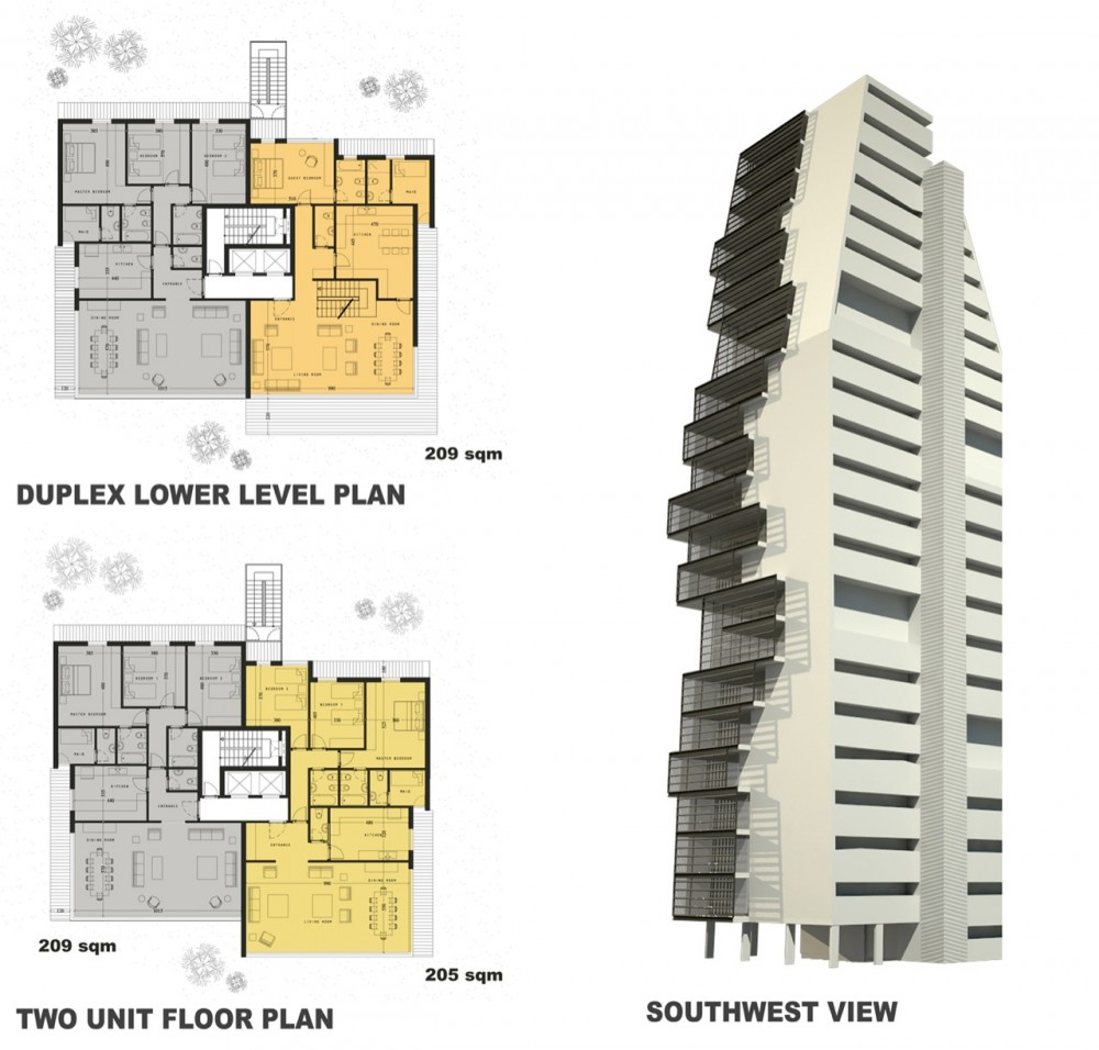 Modern architecture elevations of high rise residential for Residential building plans