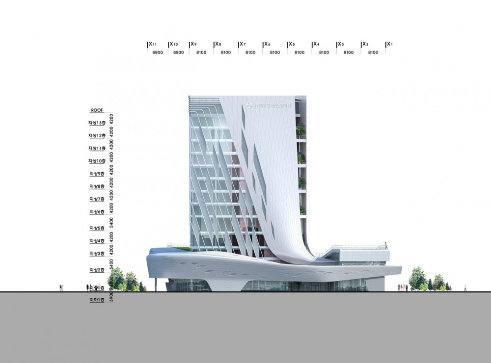 The Korea Teachers Pension Head Office / Tomoon Architects and Engineers elevation 01
