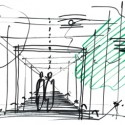  RENZO PIANO BUILDING WORKSHOP, 2010 Renzo Piano Perspective Sketch of the Glass Connector from the New Wing to the Historic Museum Building   RENZO PIANO BUILDING WORKSHOP, 2010
