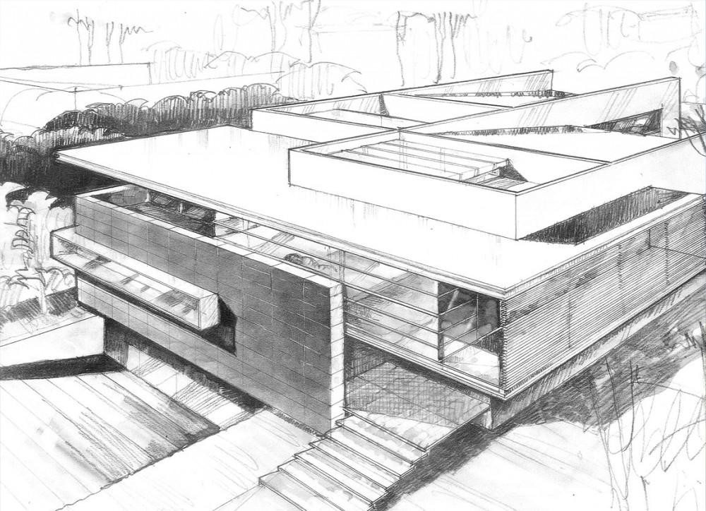 Architecture photography sketch 166089 Drawing modern houses