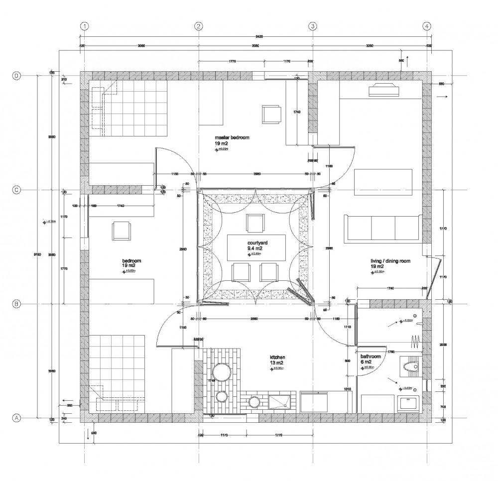 Pinwheel House Plan on Chinese Courtyard House Floor Plans