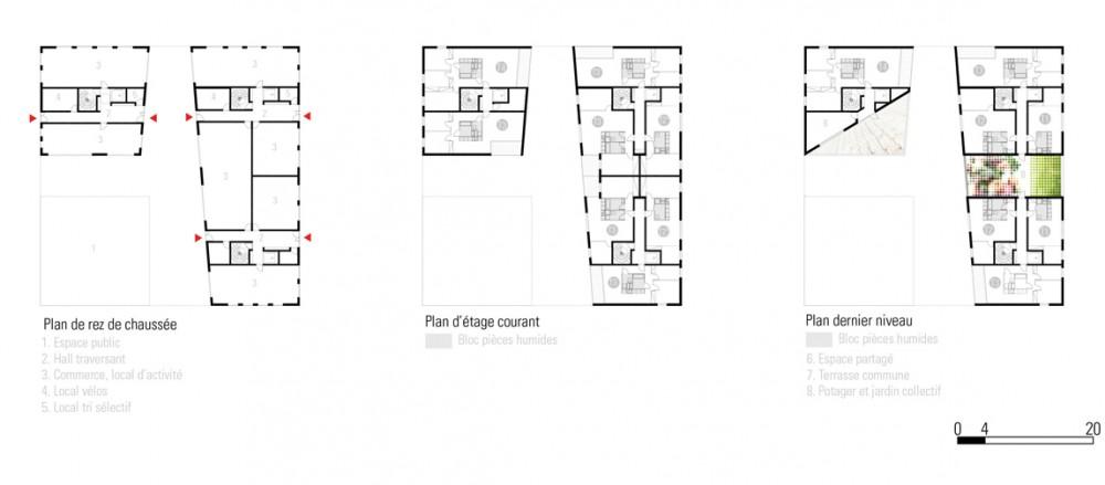 Europan 11 Proposal: Toulouse (7) floor plans