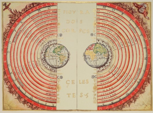An illustration of the Ptolemaic geocentric system by Portuguese cosmographer and cartographer Bartolomeu Velho, 1568 Courtesy of Wikimedia Commons