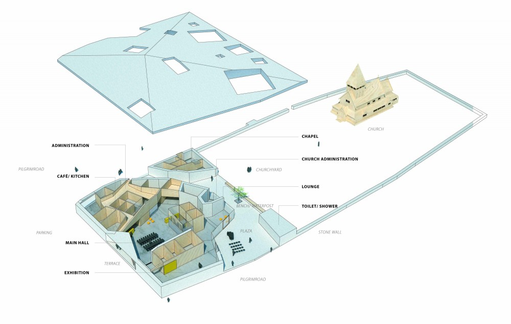 Røldal Pilgrim Center Proposal (14) axonometric