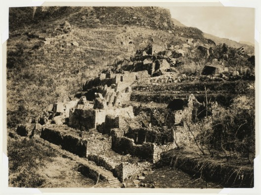 Martín Chambi, View from the Industrial Sector showing the King's Group, Serpent Gate and Torreón in the distance, Macchu Picchu, Peru, 1927. CCA Collection. © Archivo Fotografico Martín Chambi