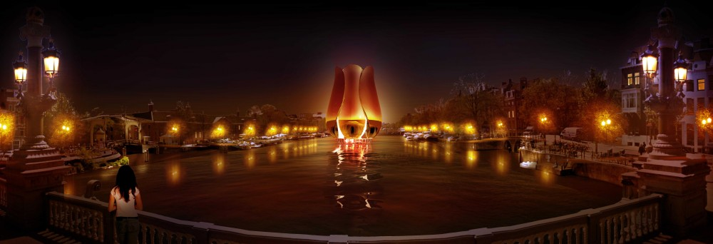 Amsterdam Iconic Pedestrian Bridge Proposal / Michael Labory & Bertrand Schippan