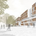 "New Buildings of the ""Klinikum 2015"" Plan for Karlsruhe Medical Centre (3) entrance perspective house M / Courtesy of gmp Architekten"