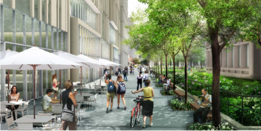 Illustrative Rendering of the Greene Street Walk, Part of the NYU 2031 Expansion Plan.  NYU