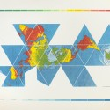 sfmoma_Fuller_08_AirOceanMap 8. Buckminster Fuller and Chuck Byrne, Dymaxion Air-Ocean World Map, 1981; screen print; 50 in. x 72 in.; Collection SFMOMA, gift of Elizabeth and Carl Solway in memory of Robert Fillmore Lovett, Jr.; © The Estate of R. Buckminster Fuller, All Rights reserved