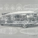 sfmoma_Fuller_02_DymaxionCar 2. Buckminster Fuller and Chuck Byrne, Motor Vehicle-Dymaxion Car, United States Patent Office no. 2,101,057, from the portfolio Inventions: Twelve Around One, 1981; screen print in white ink on clear polyester film; 30 in. x 40 in. (76.2 cm x 101.6 cm); Collection SFMOMA, gift of Chuck and Elizabeth Byrne; © The Estate of R. Buckminster Fuller, All Rights reserved. Published by Carl Solway Gallery, Cincinnati.