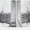 UNESCO Headquarters, Construction Photograph, View Along Faade of Secretariat; Place de Fontenoy, Paris, France; May 20, 1957 UNESCO Headquarters, Construction Photograph / Architect: Breuer-Nervi-Zehrfuss Architectes / Photographer: Marc Riboud, Photo UNESCO