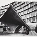 UNESCO Headquarters, Construction Photograph, Entrance Canopy of Secretariat; Place de Fontenoy, Paris, France; ca. 1955-1958 UNESCO Headquarters, Construction Photograph / Architect: Breuer-Nervi-Zehrfuss Architectes / Photographer: Lucien Herv