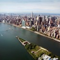 New York Citys first Kahn Structure nears Completion (3) Aerial Cityscape Rendering - Credit: Franklin D. Roosevelt Four Freedoms Park, LLC