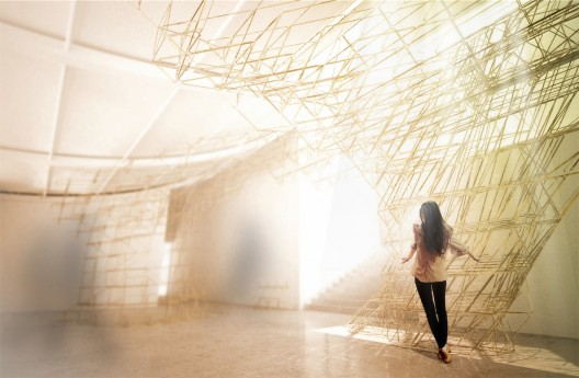 Australian Pavilion focuses on Architect&#039;s Evolving Role at Biennale (5) A complex robotically fabricated sculptural installation.  Supermanoeuvre