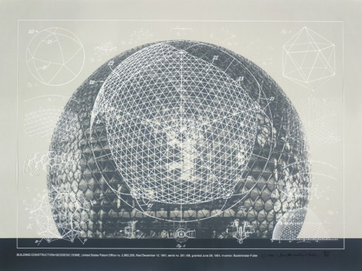 1. Buckminster Fuller and Chuck Byrne, Building Construction/Geodesic Dome, United States Patent Office no. 2,682,235, from the portfolio Inventions: Twelve Around One, 1981; screen print in white ink on clear polyester film; 30 in. x 40 in. (76.2 cm x 101.6 cm); Collection SFMOMA, gift of Chuck and Elizabeth Byrne;  The Estate of R. Buckminster Fuller, All Rights reserved. Published by Carl Solway Gallery, Cincinnati.  