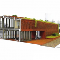 Tongjiang Recycled Brick School  / Joshua Bolchover - John Lin Perspective section