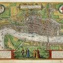 "Exhibition: ""Open City: London, 1500-1700 (3) Civitates Orbis Terrarum. Hand-colored engraving, 1574. Folger Shakespeare Library."
