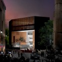Venice Biennale 2012: Architecture as New Geography / Grafton Architects, Silver Lion Award (35) Night_Perspective of the new building for the Ecole d&#039;conomie de Toulouse - TSE, UT1C, Toulouse France by Grafton Architects - Image courtesy of Grafton Architects