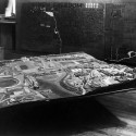 Frank Lloyd Wright Archives relocates to New York (3) Broadacre City model in construction in Arizona. 1935. The Frank Lloyd Wright Foundation Archives (The Museum of Modern Art | Avery Architectural &amp; Fine Arts Library, Columbia University, New York)