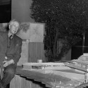 Frank Lloyd Wright Archives relocates to New York (1) Frank Lloyd Wright with Wingspread Model at the Exhibition, Frank Lloyd Wright, American Architect. The Museum of Modern Art, New York.
