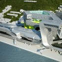 Keelung Harbor Service Building / Neil M. Denari Architects (1) Aerial view from the Northeast - Courtesy of Neil M. Denari Architects