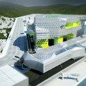 Keelung Harbor Service Building / Neil M. Denari Architects (3) Aerial view from the South - Courtesy of Neil M. Denari Architects
