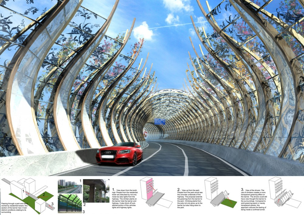 Forest Corridor  Highway Noise Barrier / BREAD Studio
