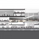 OMA wins competition for new engineering school in France (5) Section showing the integration of the central block overlooking the LabCity - Image courtesy of OMA