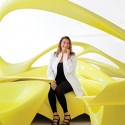 "Zaha at her London studio on the ""Lotus"" via Glamour Magazine"