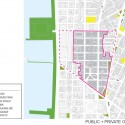 Masterplan for Hudson Square Streetscape Improvements (10) public and private open space diagram / Courtesy of Mathews Nielsen Landscape Architects